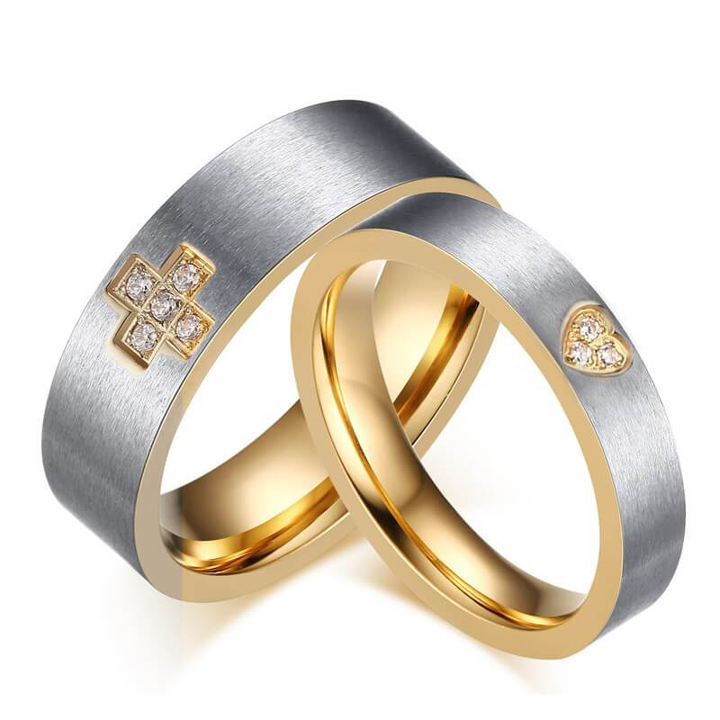 Wedding Rings Stainless Steel Cross Gold Silver Size 5-12