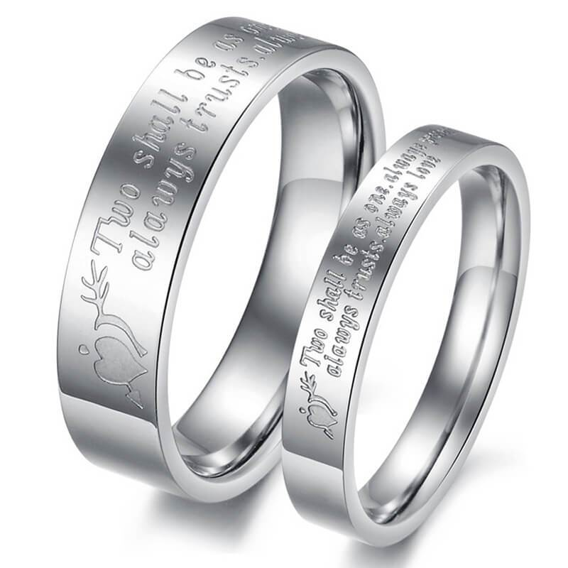 Promise Rings for Couple Stainless Steel Arrow Through Heart Silver Wedding Bands
