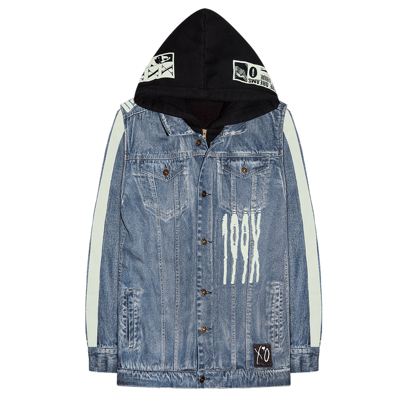 XO SCANNERS HOODED DENIM JACKET