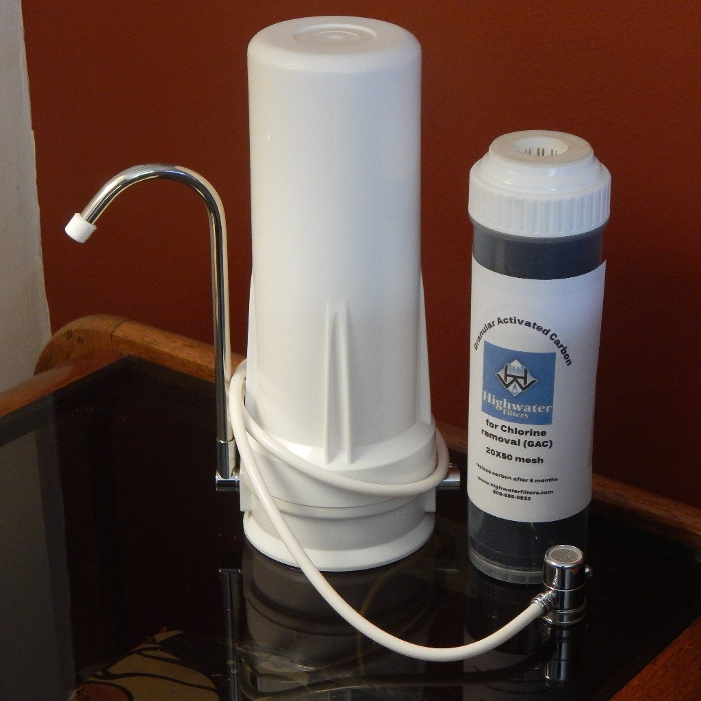 White Plastic Counter Top Housing Bundle with 1 GAC filter
