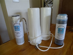 Fluoride and Chloramine Double White Countertop Housing  with 1 Bone Char and 1 Wide Spectrum/Chloramine filter