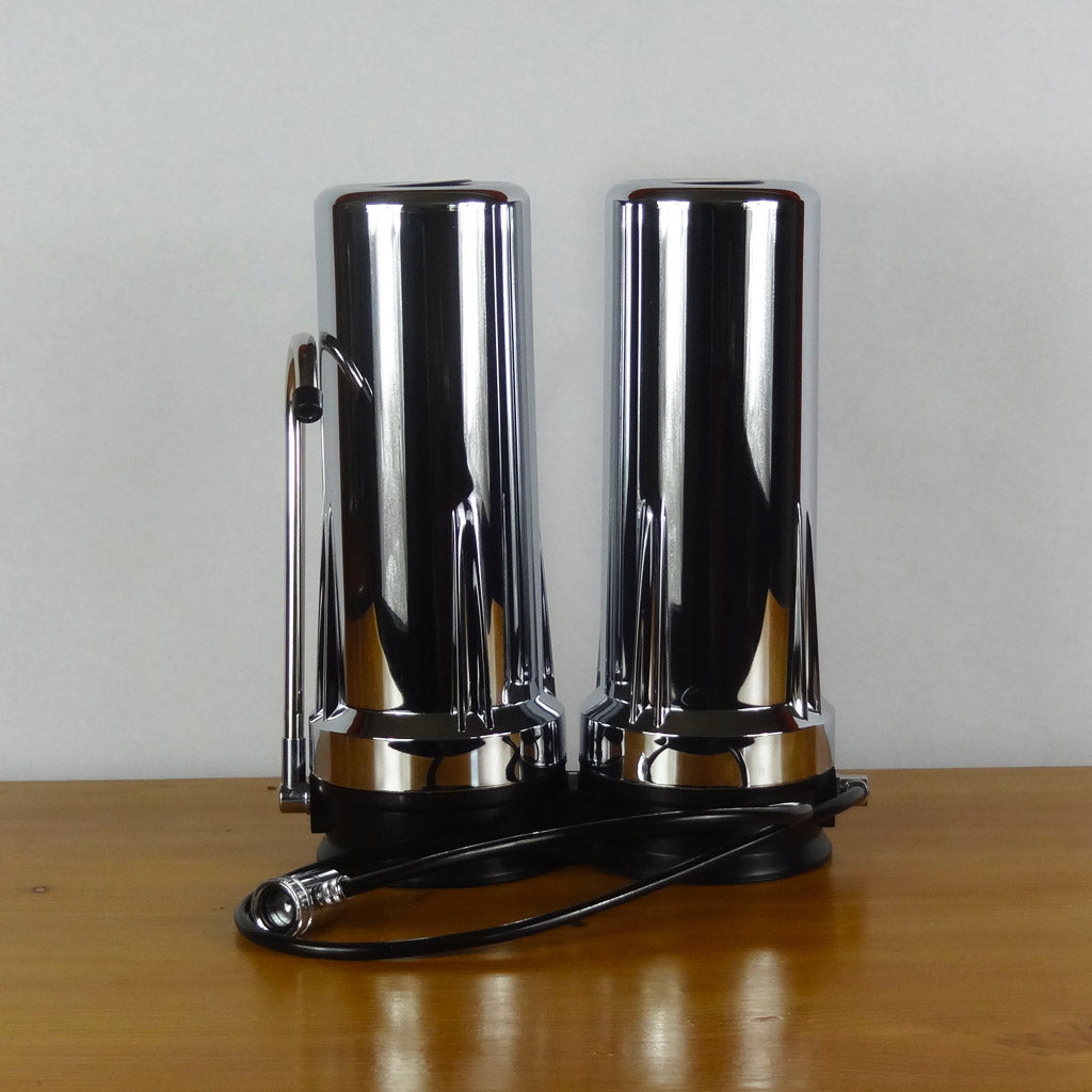 Double Chrome Countertop Filter Housing
