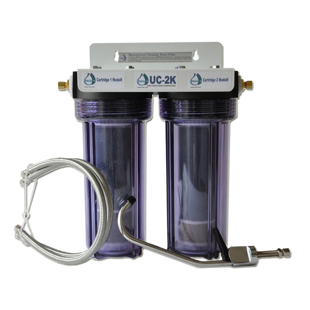 Double Under-counter Water Filter for Chloramine and Radiation by CuZn