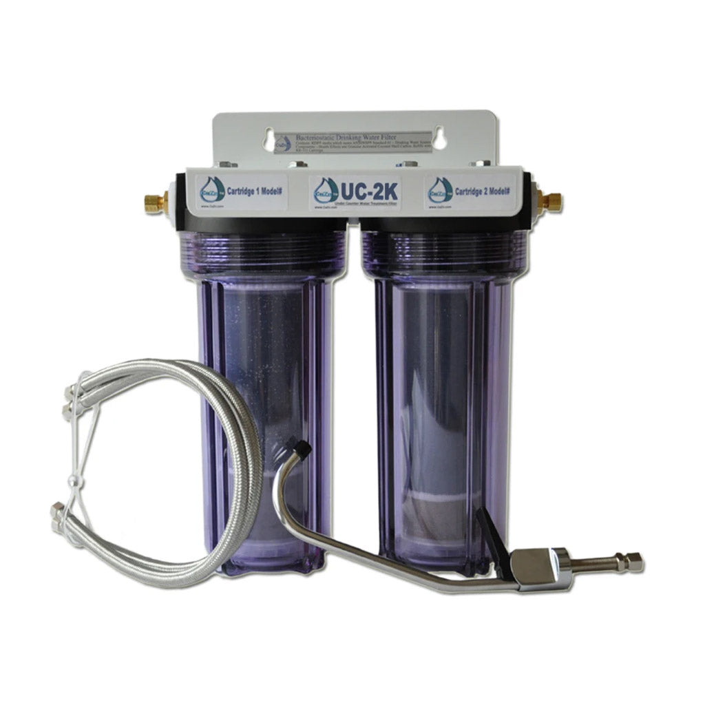 UC-2K Double Under-Counter Water Filter by CuZn for Chlorine and Fluoride