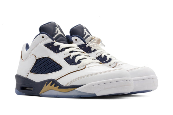 d0c9b52d358d64 Nike Air Jordan 5 Retro Low V Sz 9.5 Dunk From Above White Navy Gold