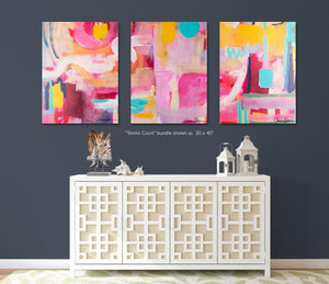 Tennis Court- Set of 3 Fine Art Print Bundle