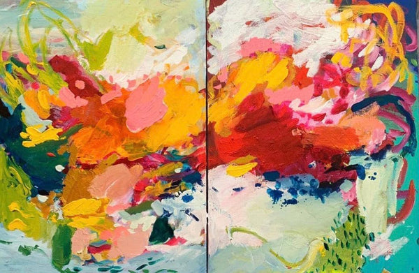"""Nevada Summer"" 24x36"" Original Diptych Canvas (Set of 2)"