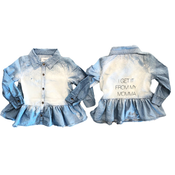 """Got it from my mama"" denim top"