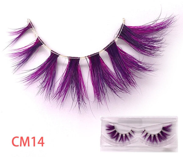 New color 3D luxury mink lashes wholesale natural long individual thick fluffy colorful false eyelashes Makeup Extension Tools