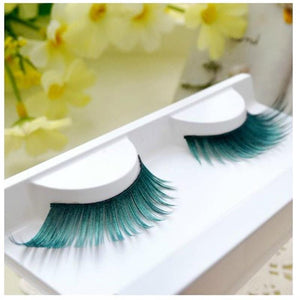 1 pairs Beautiful Green exaggerated 3D art false eyelashes eye tail stretch section stage catwalk photography nightclub PC10