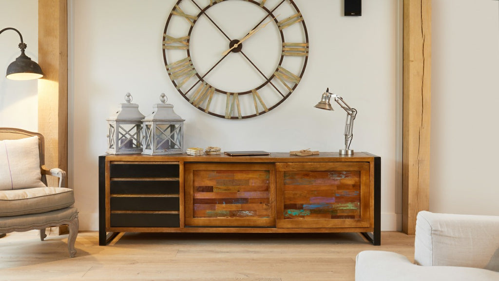 Large sideboard made from reclaimed wood, in modern living room