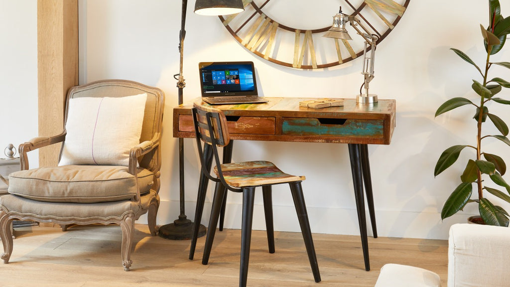 Compact reclaimed wood desk with matching chair