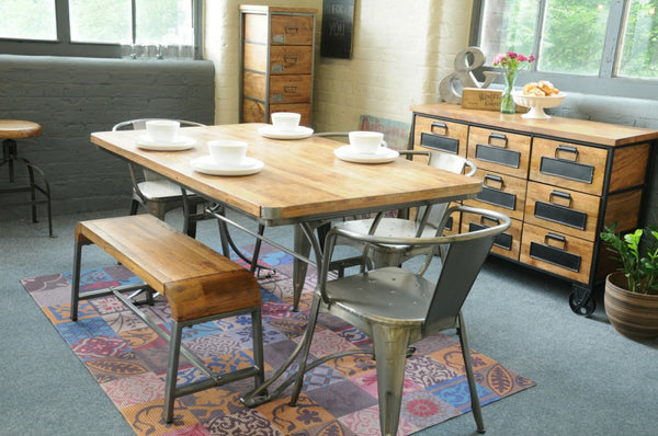 Industrial dining table with bench