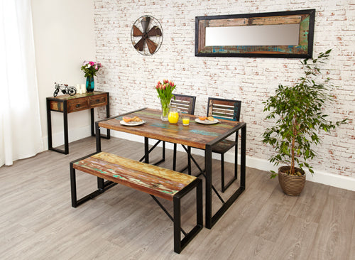 Dining table with combination of bench and chairs