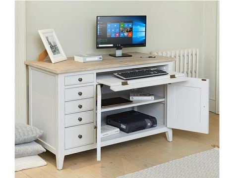 Grey hideaway desk with fold away keyboard tray and hidden storage