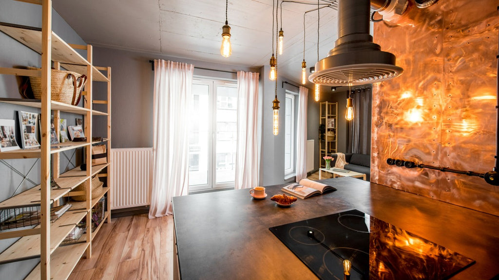 Industrial style kitchen with hanging lights