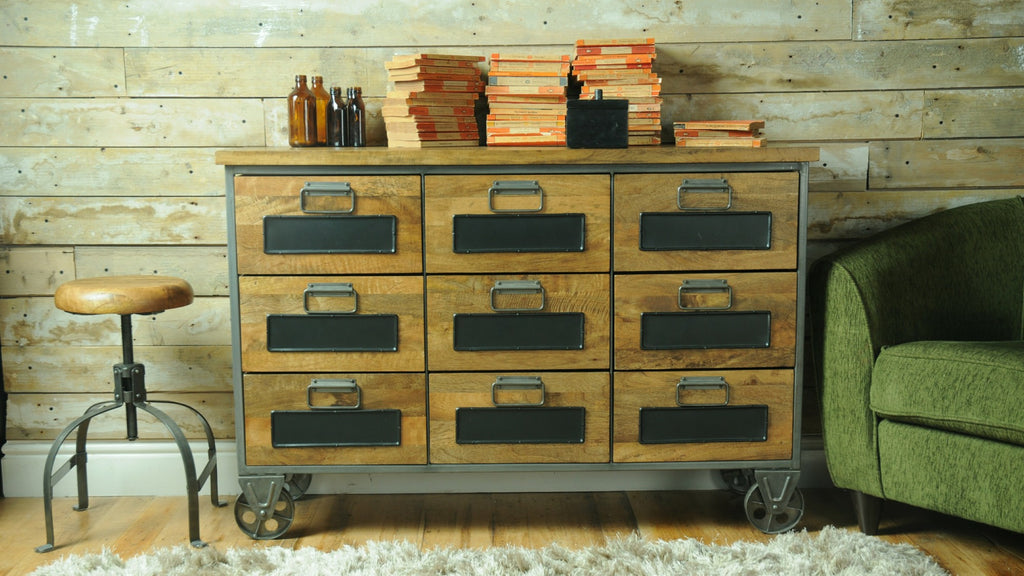Vintage style chest of drawers in living room