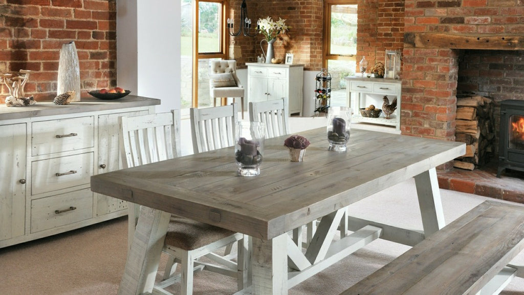 Rustic dining table and sideboard in kitchen-diner