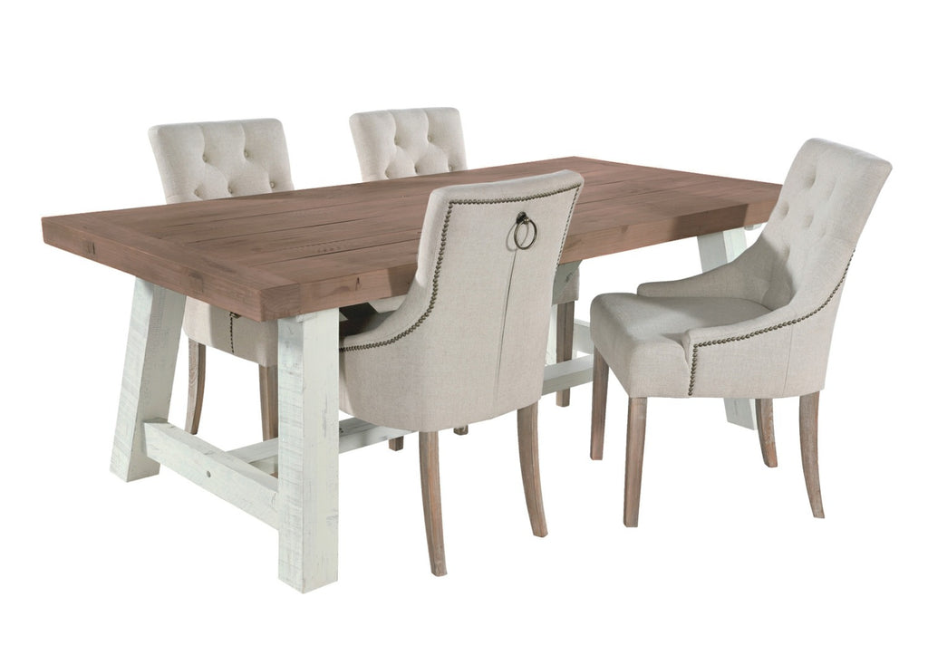 Rustic dining set with ring back dining chairs