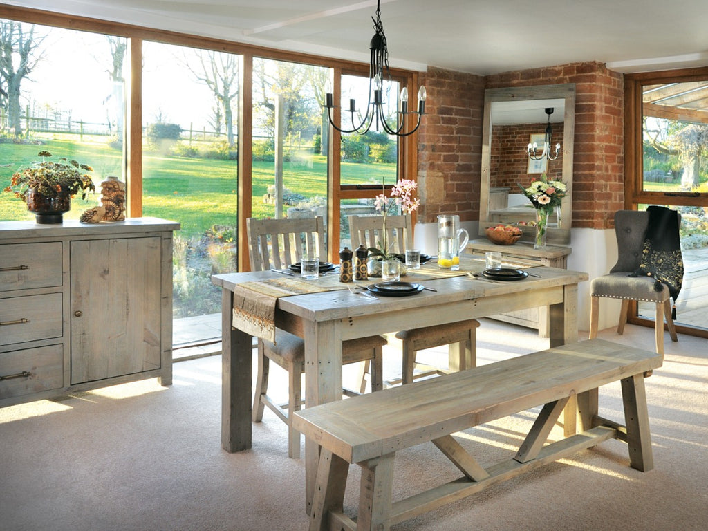 Reclaimed wood dining set with dining bench in foreground