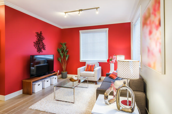 Red living room wall