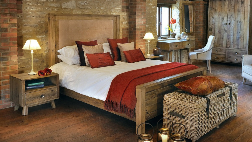 Rustic bed and bedside tables