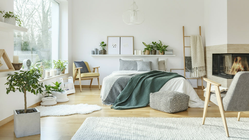 Scandi style bedroom with natural light