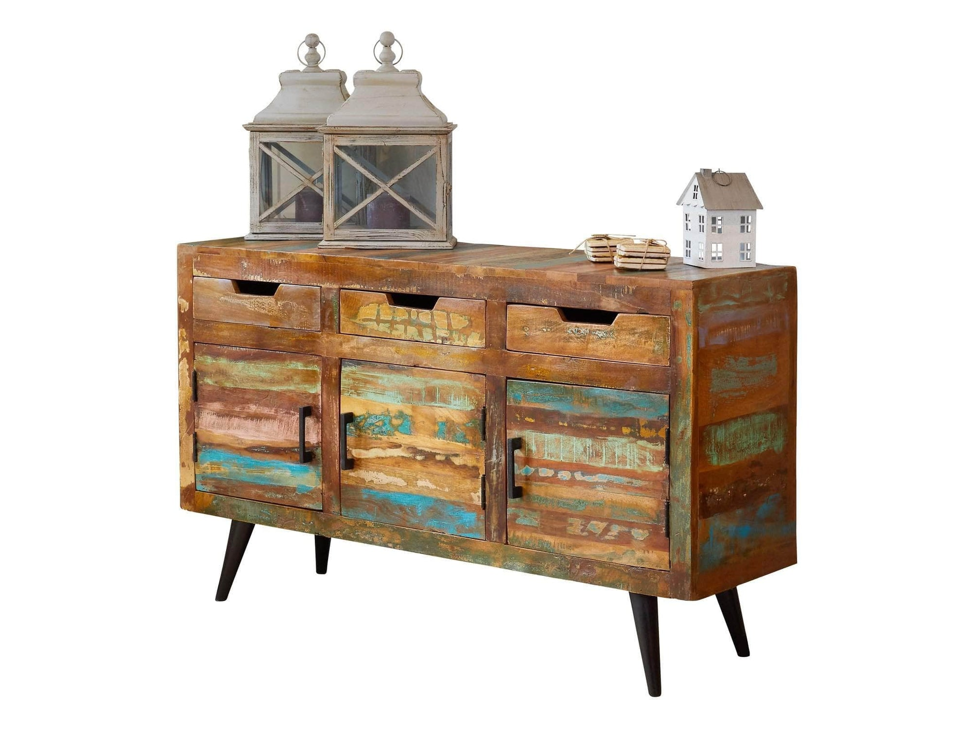 Large multi-coloured sideboard made from reclaimed wood and steel legs. Three drawers are above two cupboard areas.