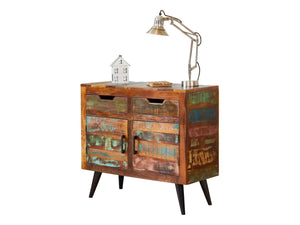 Small, bohemian style sideboard with two drawers and double doors