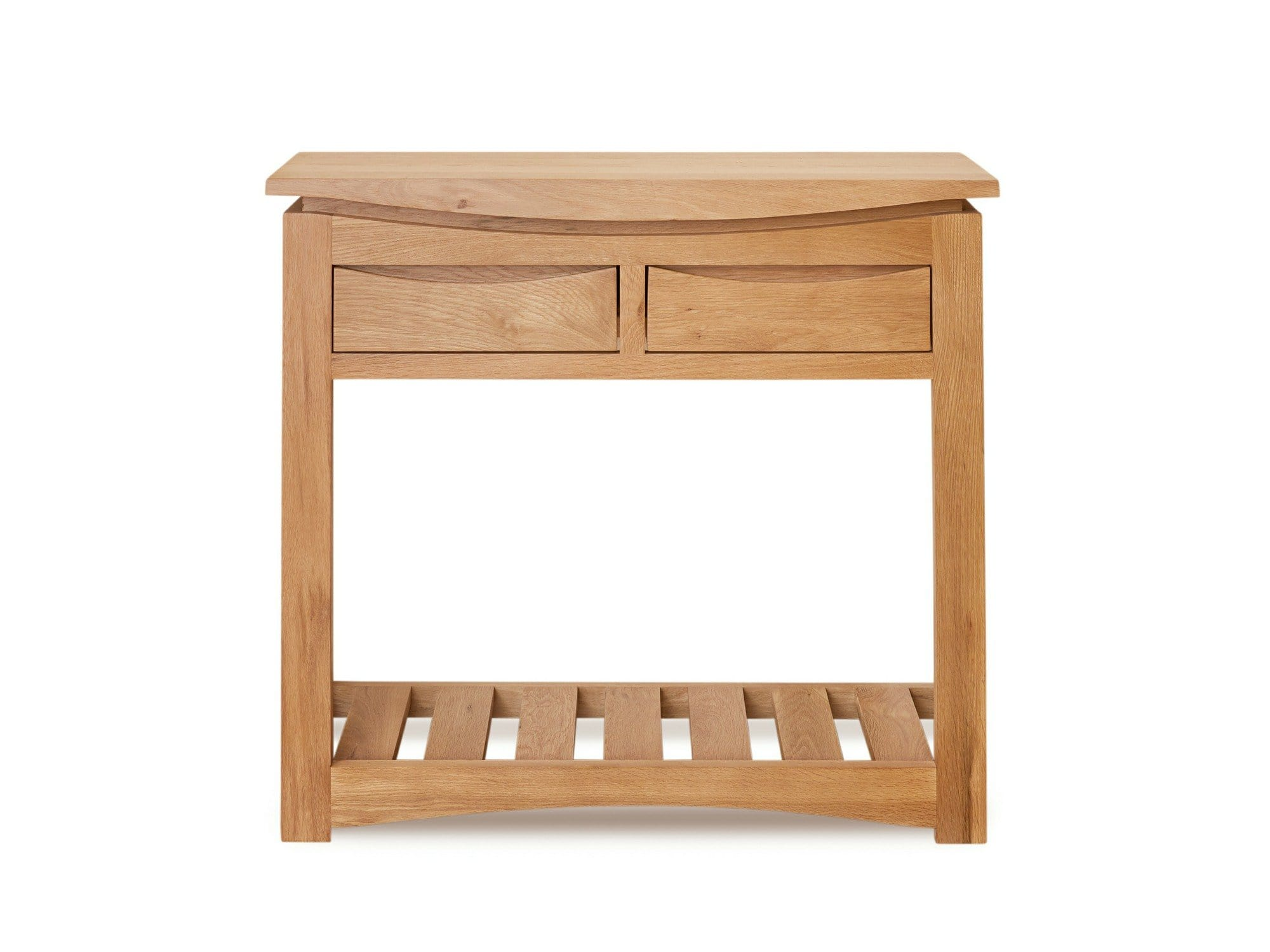 Allbrook light oak console table with two drawers plus undershelf
