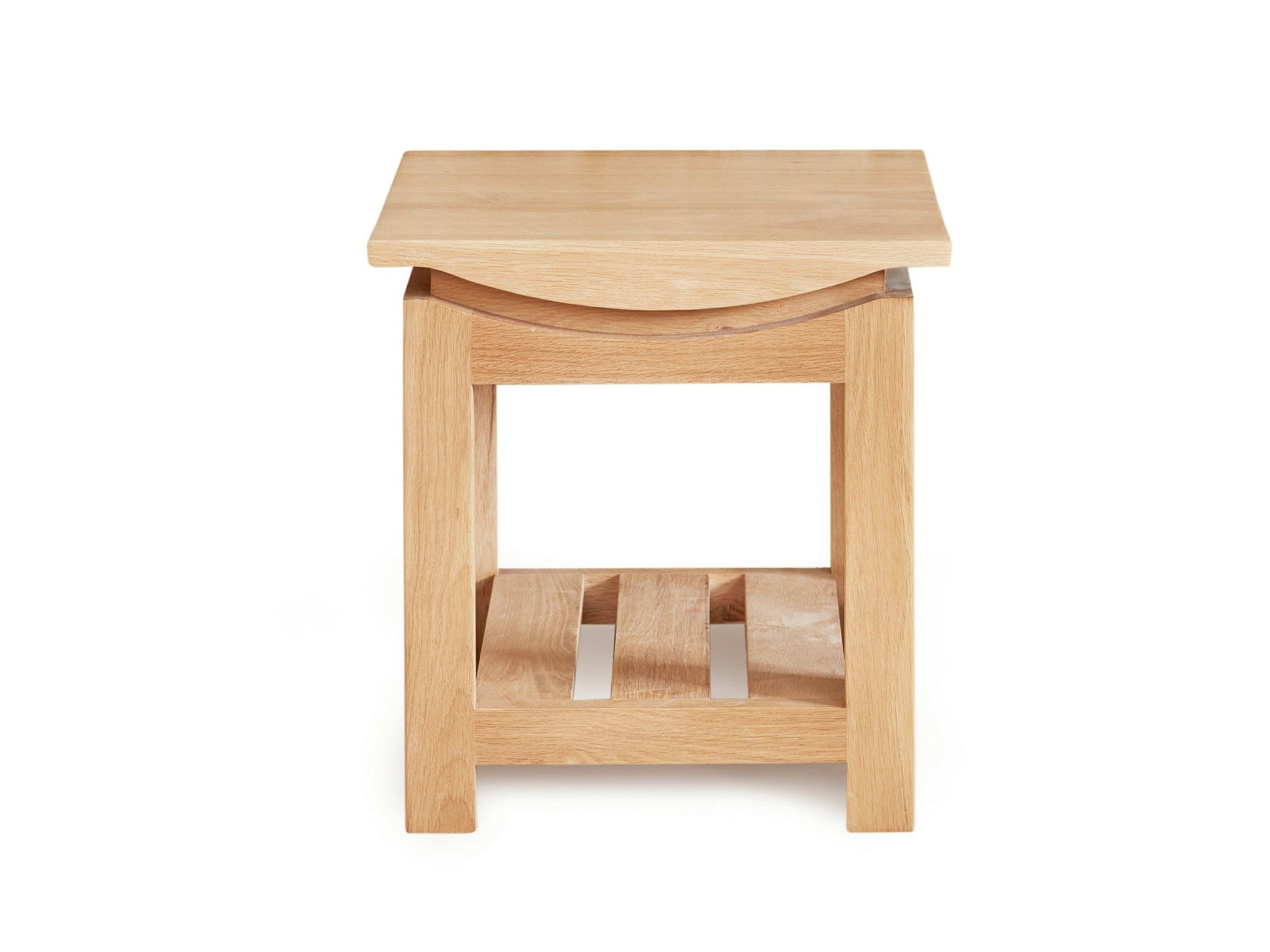 Allbrook light oak lamp table, featuring lower slatted shelf