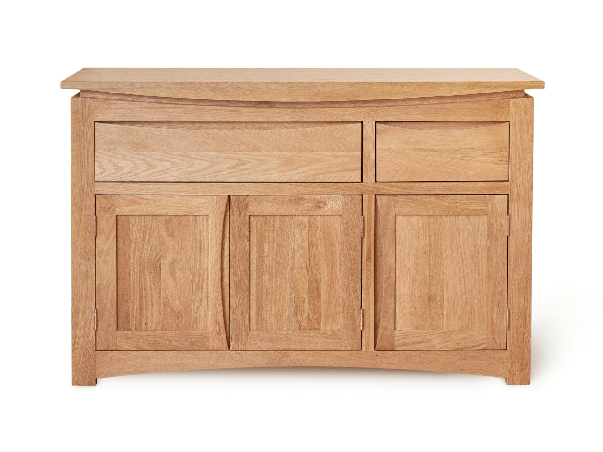 Large sideboard made from light oak, with two storage cabinets plus two drawers