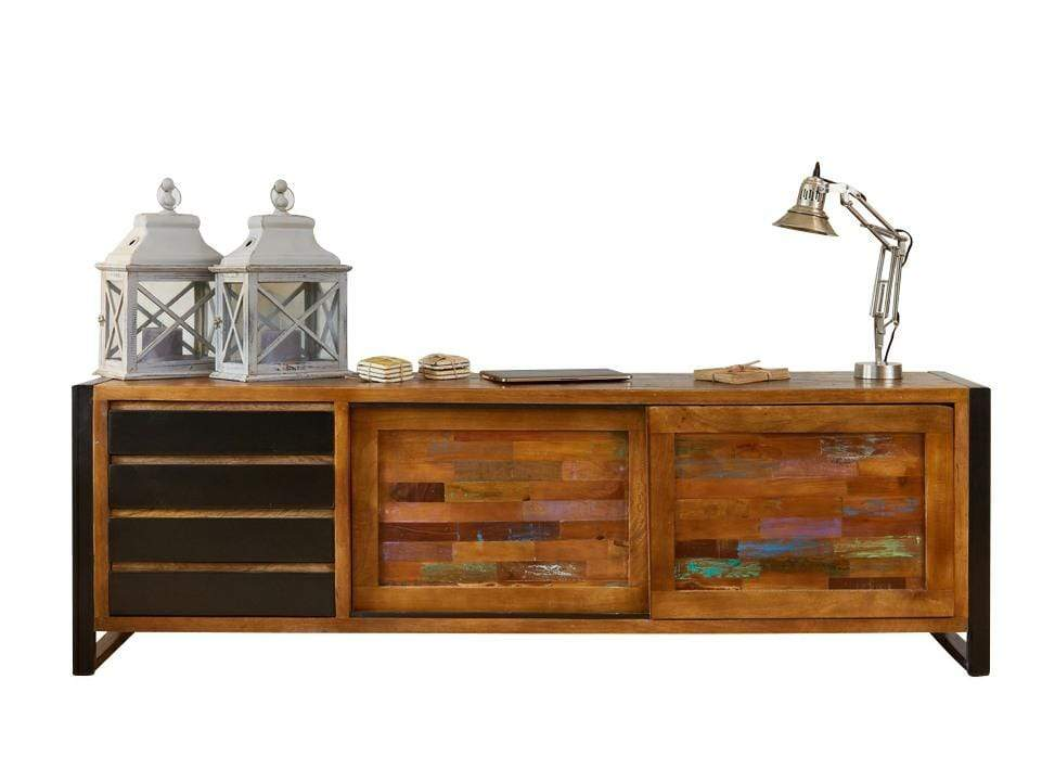 Extra large reclaimed wood sideboard with sliding door and four drawers