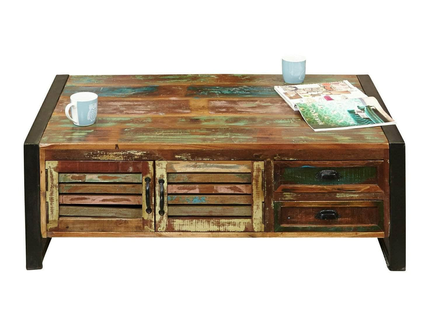 Large reclaimed wood coffee table with two drawers and storage compartment