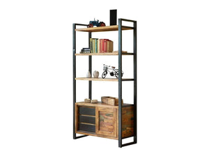 Asia large reclaimed wood shelving unit with three drawers, sliding door and cupboard