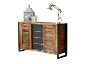 Asia reclaimed wood sideboard with sliding front and four middle drawers