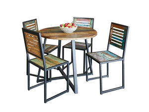 Asia round reclaimed wood dining table, for four people