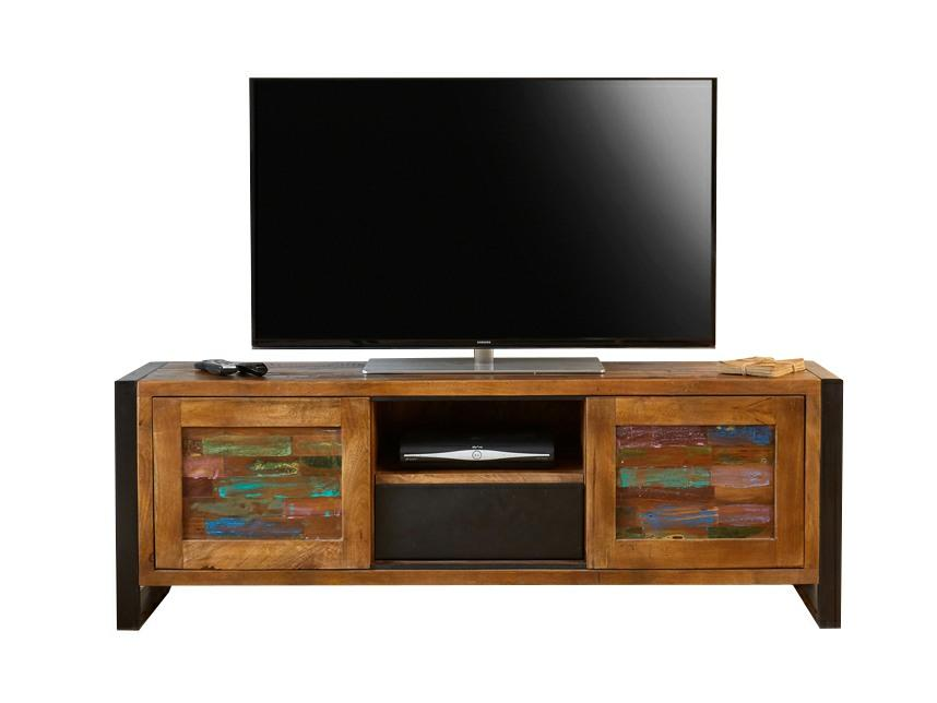 Asia widescreen TV cabinet made from reclaimed wood. Features sliding doors and central storage areas.