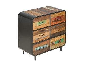 Large chest of drawers, made from reclaimed boat wood and steel surround