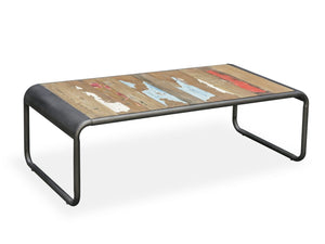 Contemporary style coffee table, with reclaimed boat wood top and steel frame