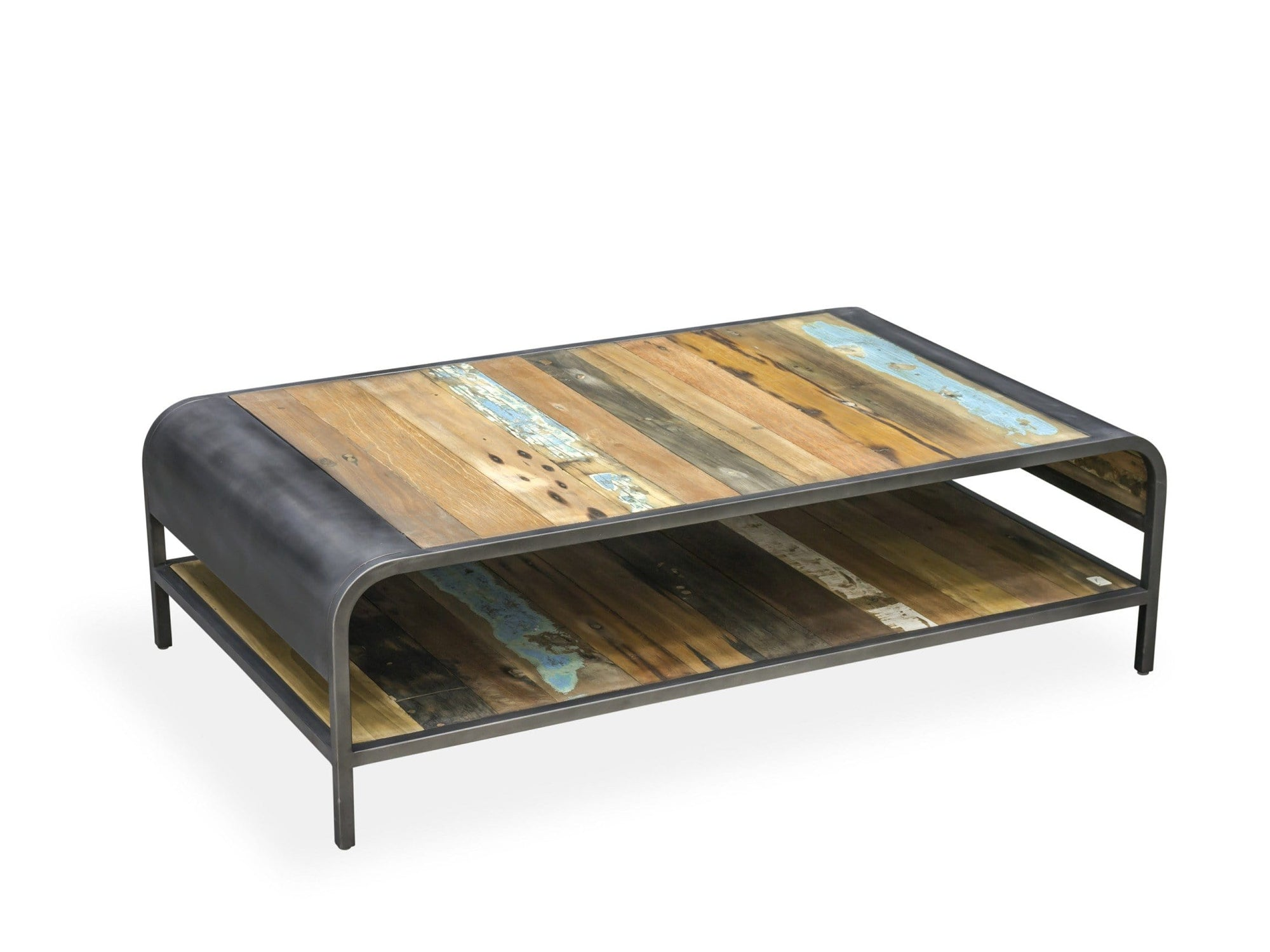 Bristol range coffee table, with reclaimed wood top and under shelf, plus steel frame