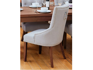 Sola Walnut Upholstered Ring Back Dining Chairs - Set of 2