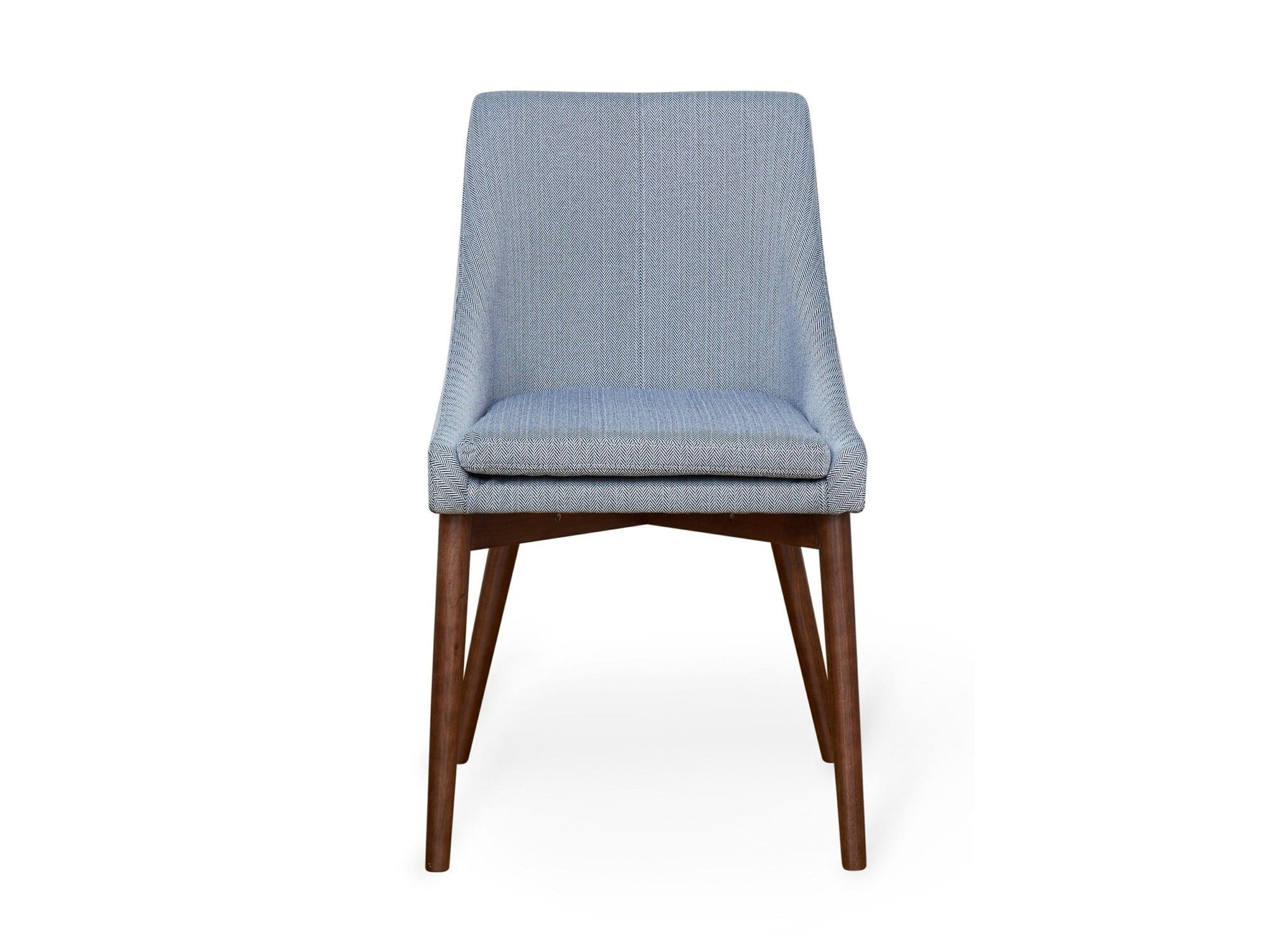 Contemporary walnut dining chairs with slate grey linen fabric upholstery