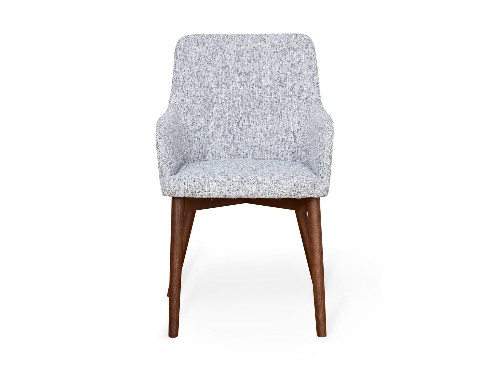 Contemporary dining chairs with light grey fabric upholstery and walnut coloured frame