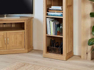 Obell Narrow Solid Oak Bookcase