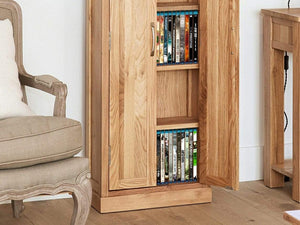 Obell Tall Solid Oak CD and DVD Storage Cabinet