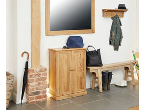Obell Solid Oak Hallway Shoe Cupboard