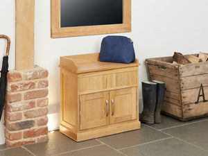 Obell Solid Oak Shoe Storage Bench Seat