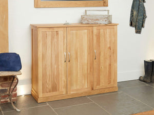 Obell Solid Oak Shoe Cabinet - Extra Large
