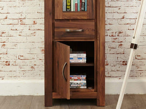 Orsina Walnut Display Cabinet - Narrow Glazed
